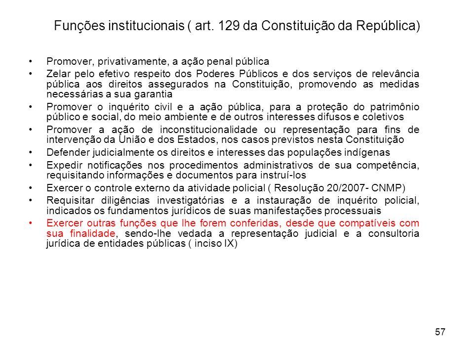 Funções institucionais ( art. 129 da Constituição da República)