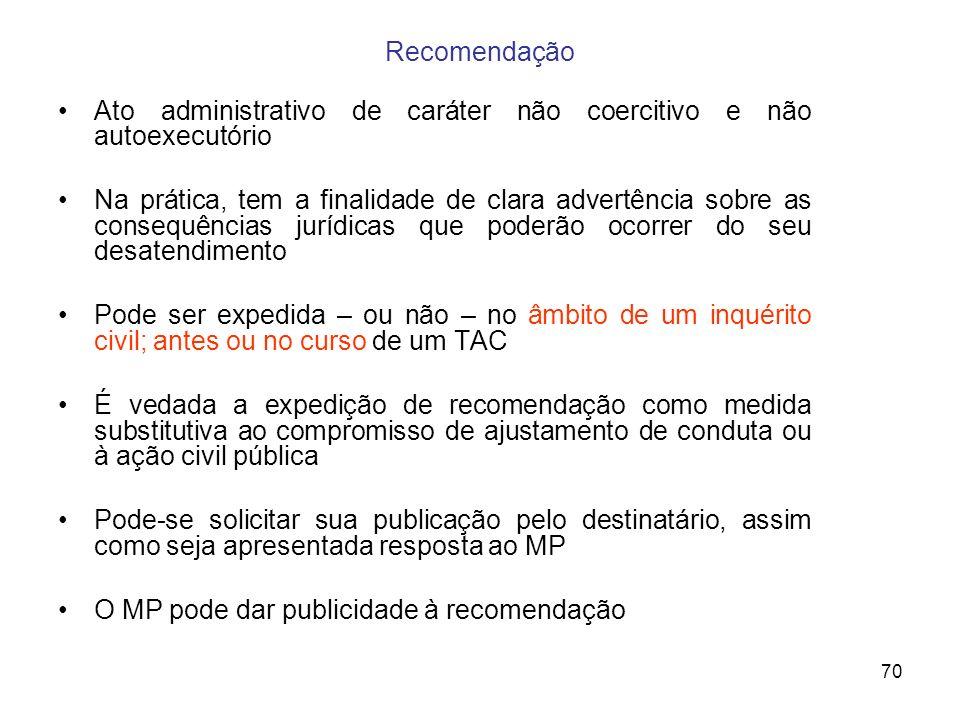 Recomendação Ato administrativo de caráter não coercitivo e não autoexecutório.