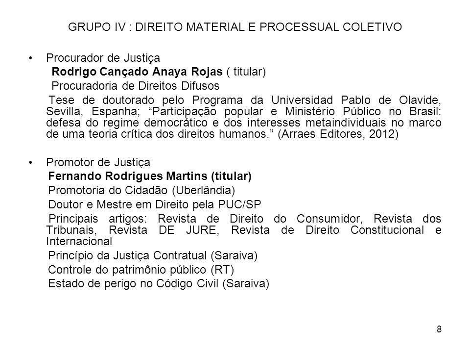 GRUPO IV : DIREITO MATERIAL E PROCESSUAL COLETIVO
