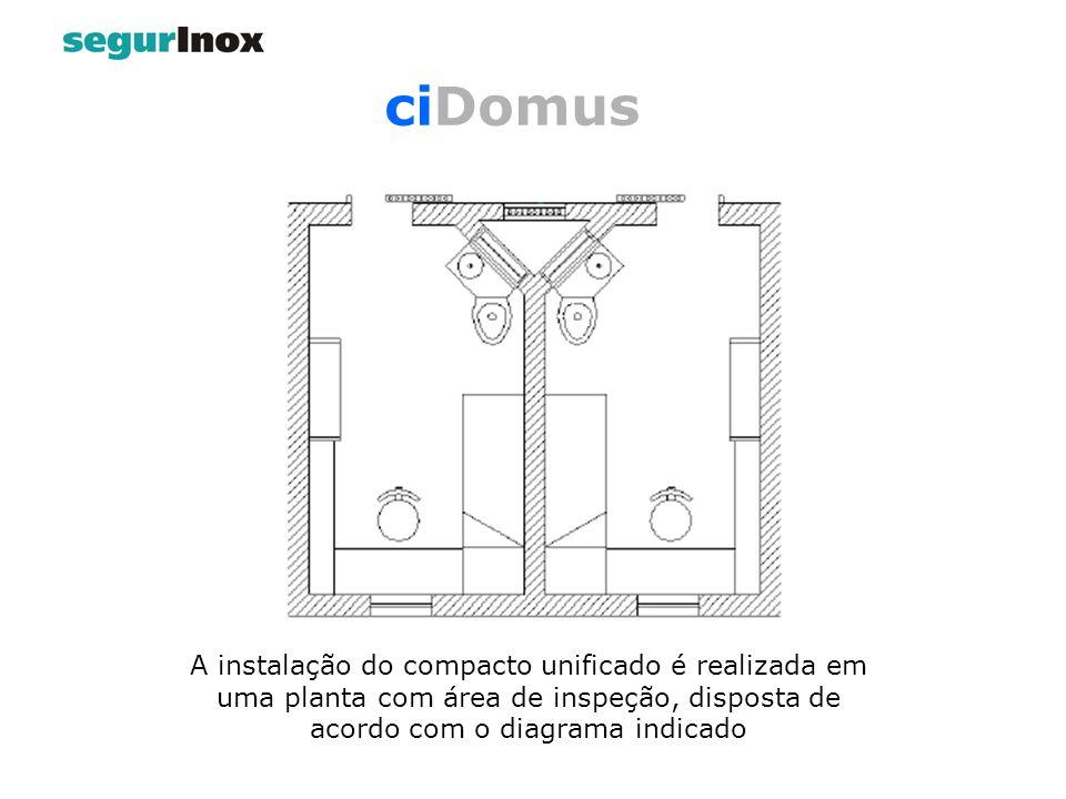 ciDomus A instalação do compacto unificado é realizada em uma planta com área de inspeção, disposta de acordo com o diagrama indicado.