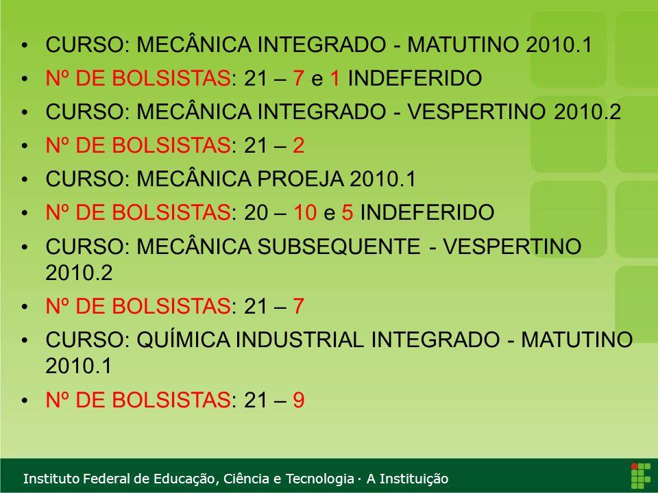 CURSO: MECÂNICA INTEGRADO - MATUTINO 2010.1