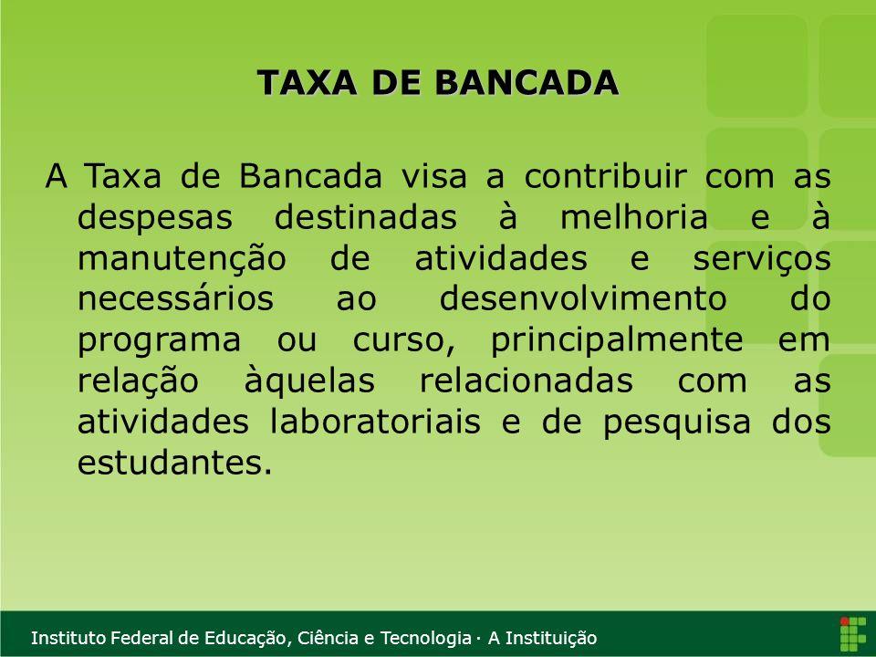 TAXA DE BANCADA