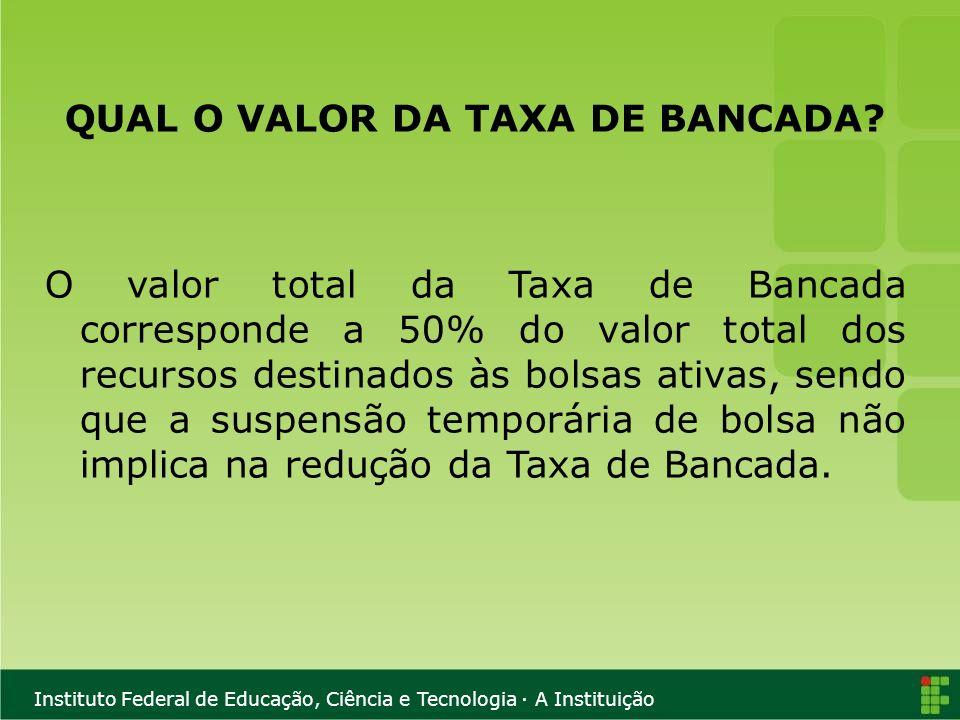 QUAL O VALOR DA TAXA DE BANCADA