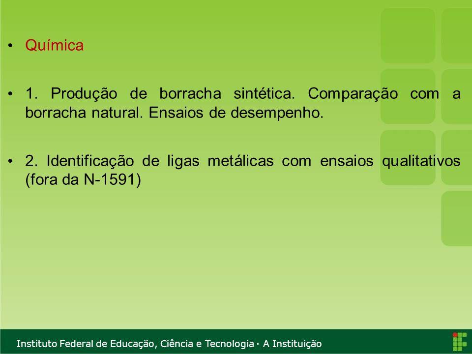 Química 1. Produção de borracha sintética. Comparação com a borracha natural. Ensaios de desempenho.