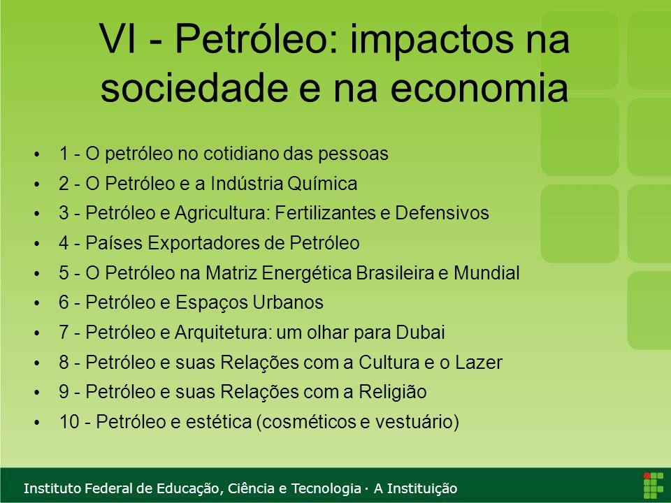 VI - Petróleo: impactos na sociedade e na economia