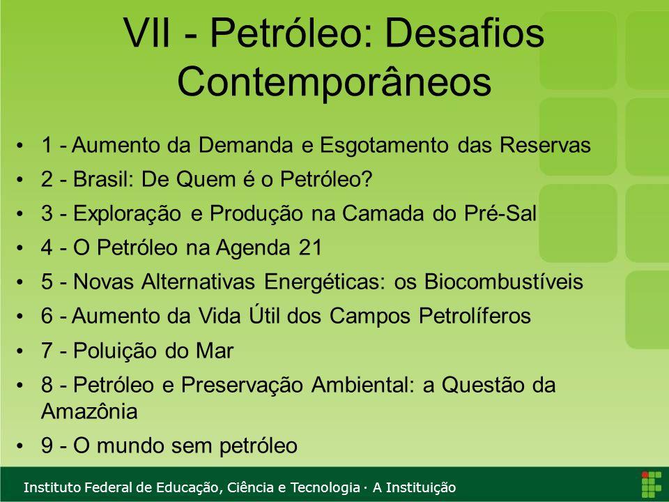 VII - Petróleo: Desafios Contemporâneos