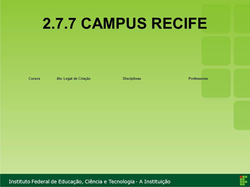 2.7.7 CAMPUS RECIFE Cursos Ato Legal de Criação Disciplinas