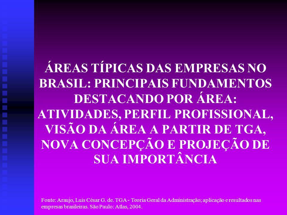 ÁREAS TÍPICAS DAS EMPRESAS NO BRASIL: PRINCIPAIS FUNDAMENTOS DESTACANDO POR ÁREA: ATIVIDADES, PERFIL PROFISSIONAL, VISÃO DA ÁREA A PARTIR DE TGA, NOVA CONCEPÇÃO E PROJEÇÃO DE SUA IMPORTÂNCIA