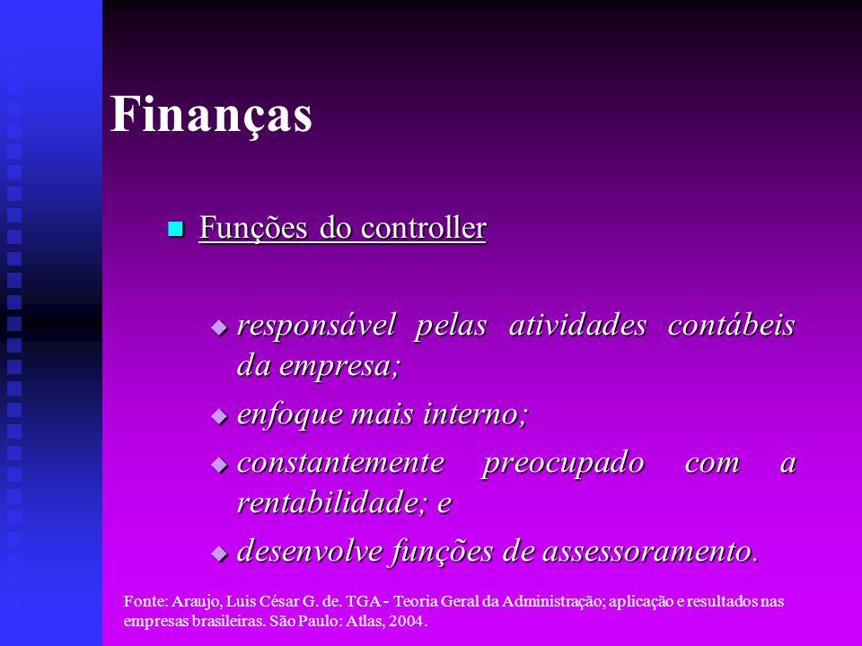 Finanças Funções do controller