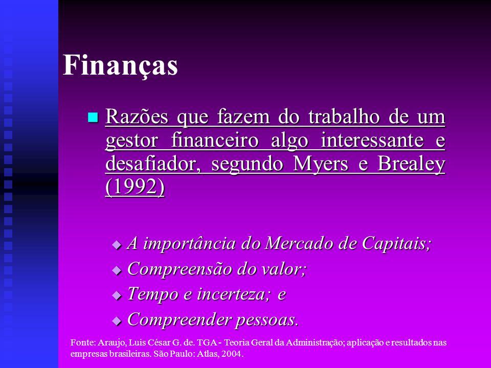 Finanças Razões que fazem do trabalho de um gestor financeiro algo interessante e desafiador, segundo Myers e Brealey (1992)