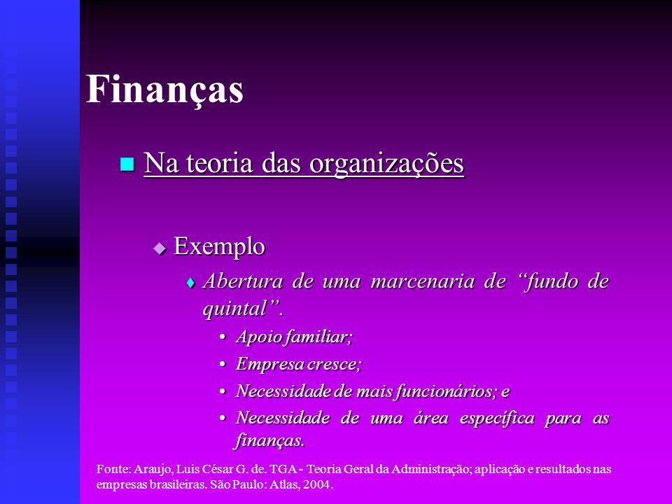 Finanças Na teoria das organizações Exemplo
