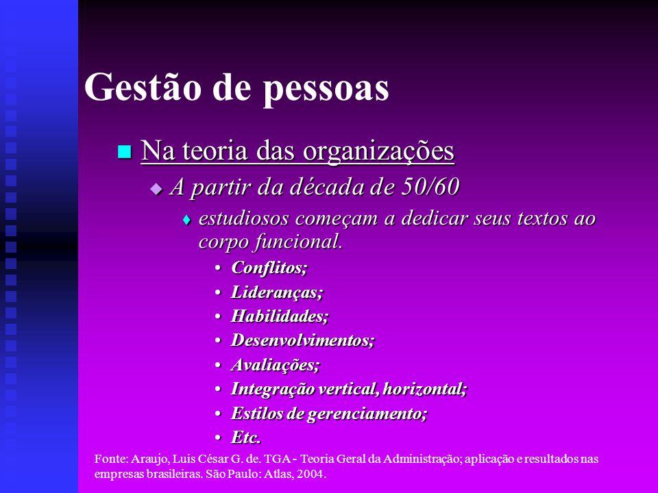 Gestão de pessoas Na teoria das organizações