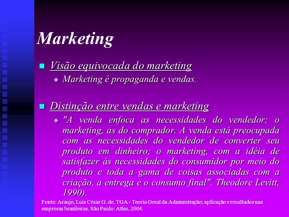 Marketing Visão equivocada do marketing