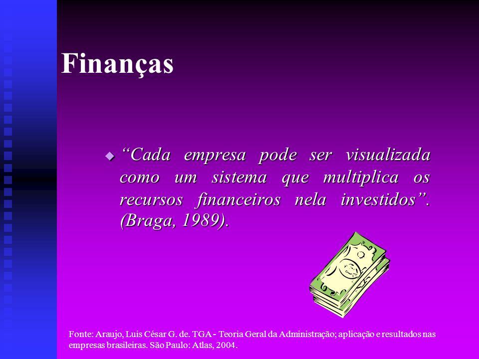 Finanças Cada empresa pode ser visualizada como um sistema que multiplica os recursos financeiros nela investidos . (Braga, 1989).