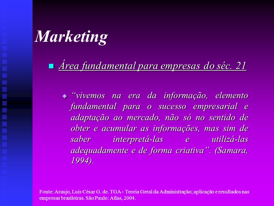 Marketing Área fundamental para empresas do séc. 21