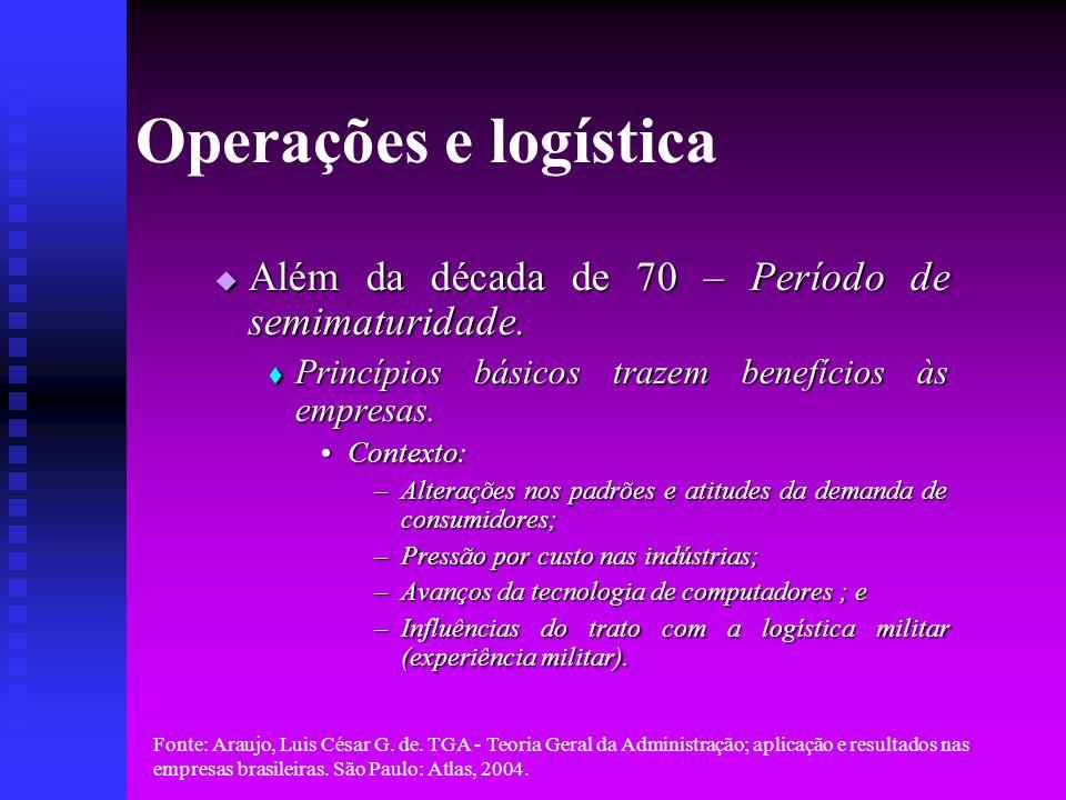 Operações e logística Além da década de 70 – Período de semimaturidade. Princípios básicos trazem benefícios às empresas.