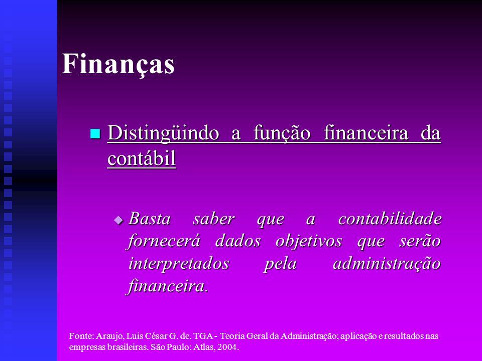 Finanças Distingüindo a função financeira da contábil