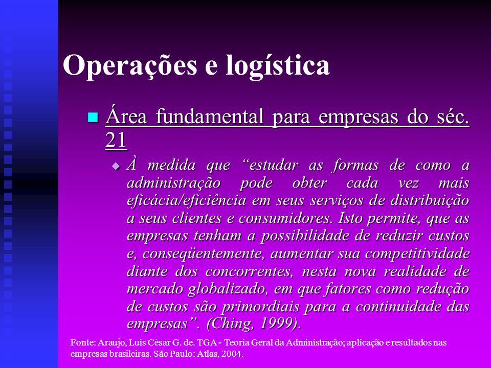 Operações e logística Área fundamental para empresas do séc. 21