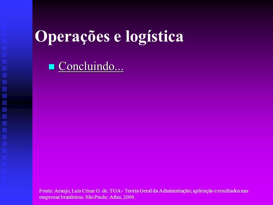 Operações e logística Concluindo...