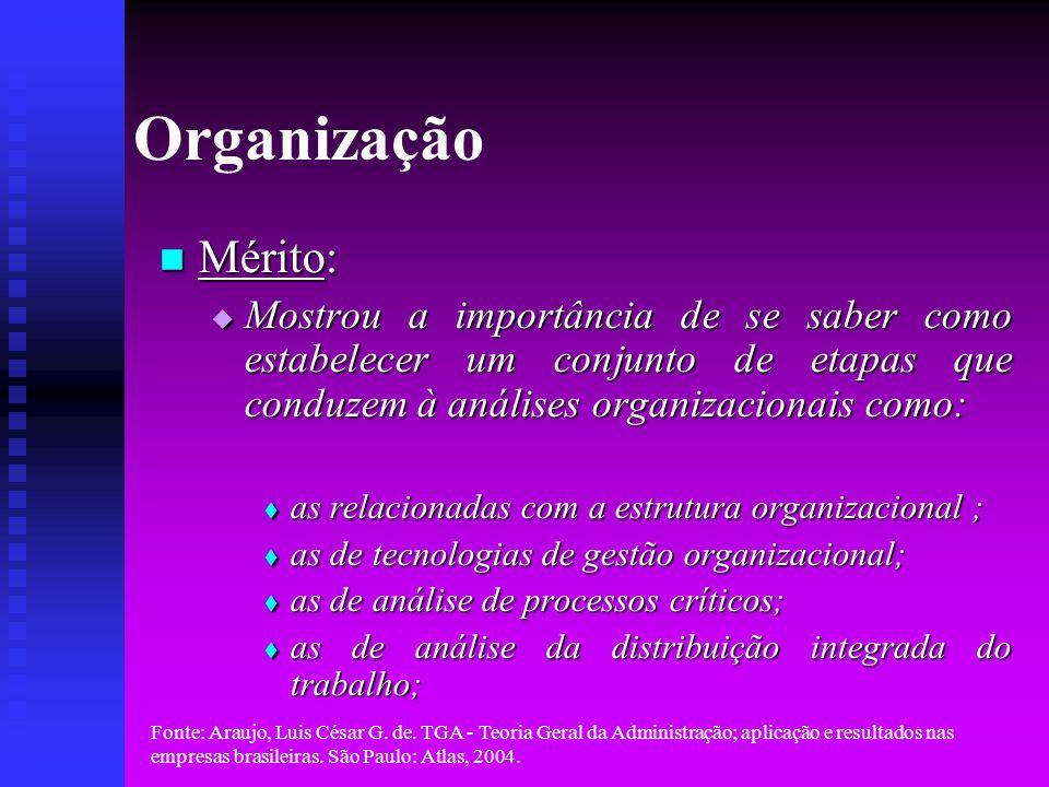 Organização Mérito: Mostrou a importância de se saber como estabelecer um conjunto de etapas que conduzem à análises organizacionais como: