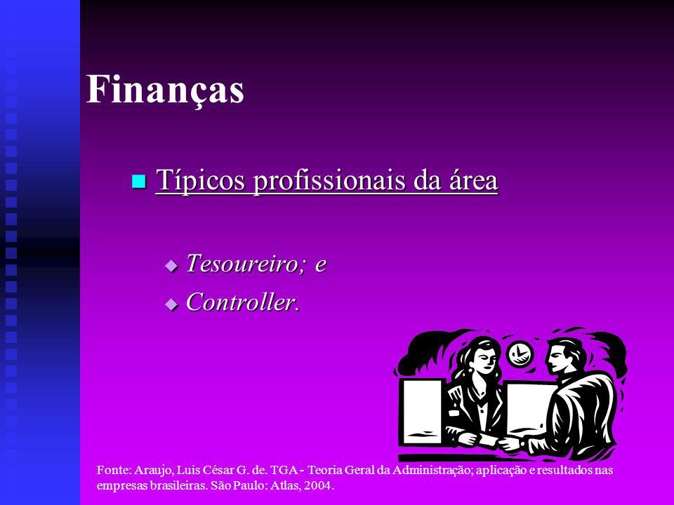 Finanças Típicos profissionais da área Tesoureiro; e Controller.