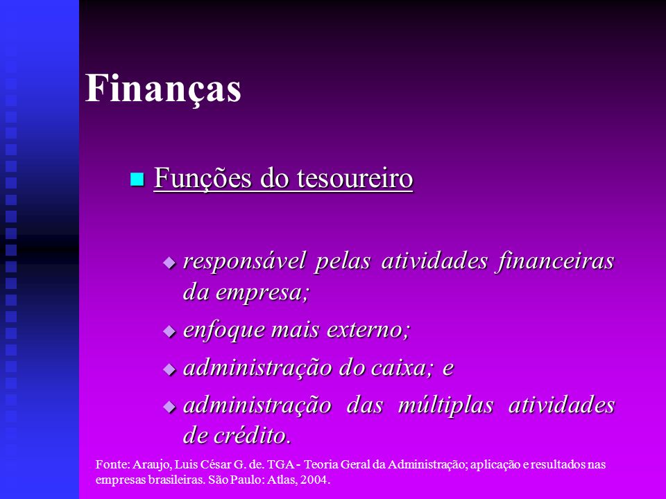 Finanças Funções do tesoureiro