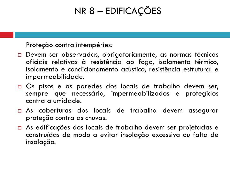 NR 8 – EDIFICAÇÕES Proteção contra intempéries: