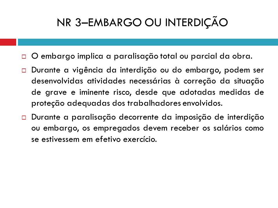 NR 3–EMBARGO OU INTERDIÇÃO
