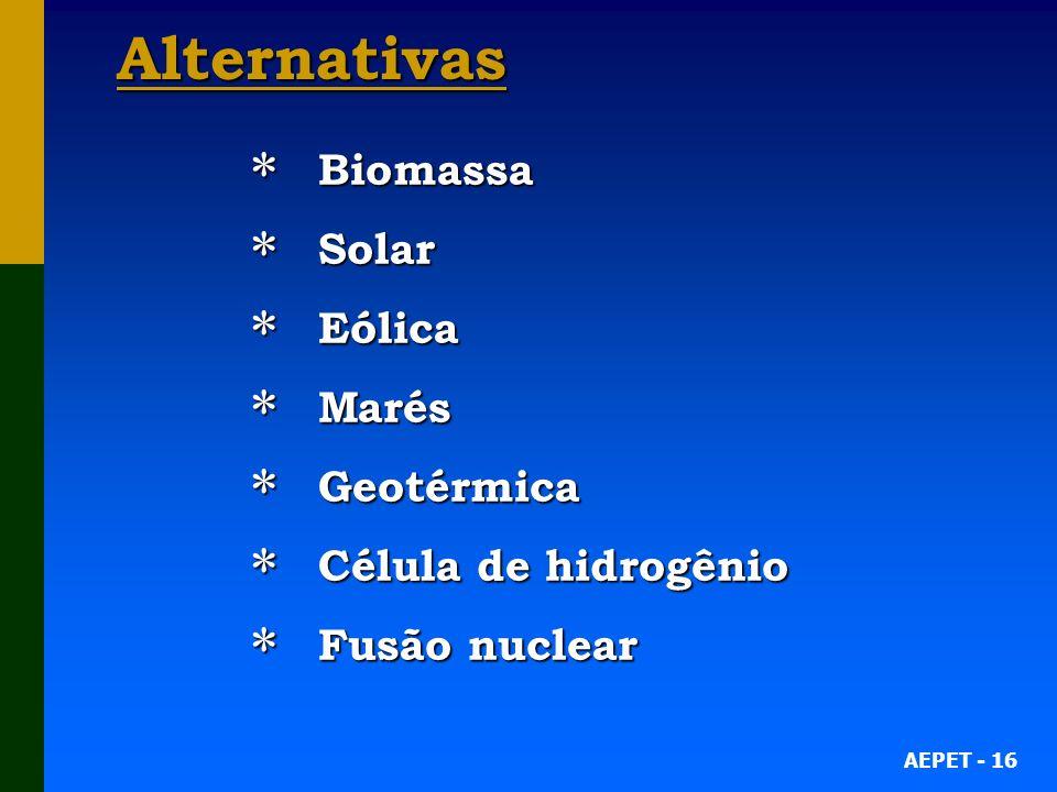 Alternativas Biomassa Solar Eólica Marés Geotérmica