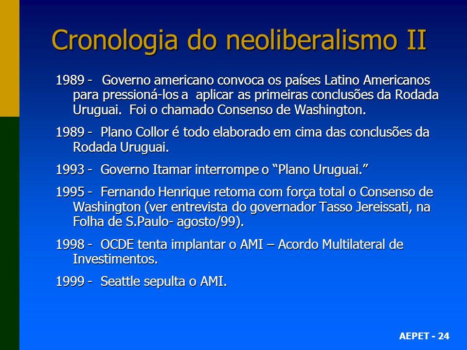 Cronologia do neoliberalismo II
