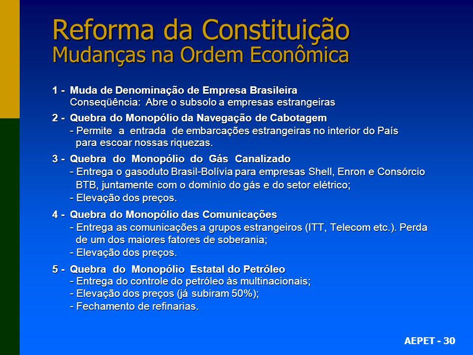 Reforma da Constituição Mudanças na Ordem Econômica