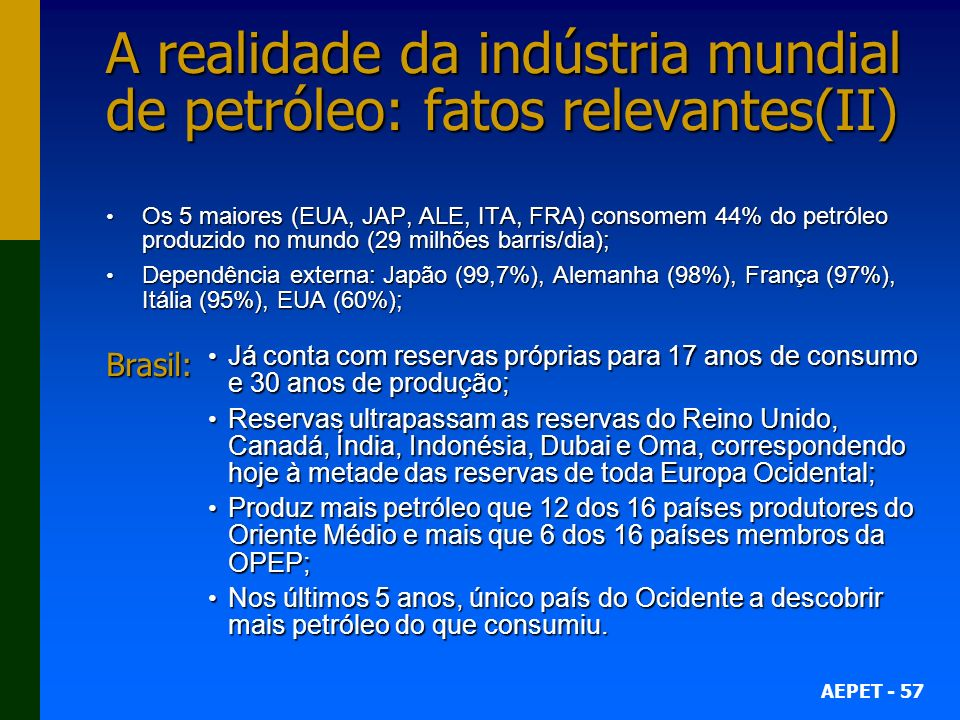 A realidade da indústria mundial de petróleo: fatos relevantes(II)