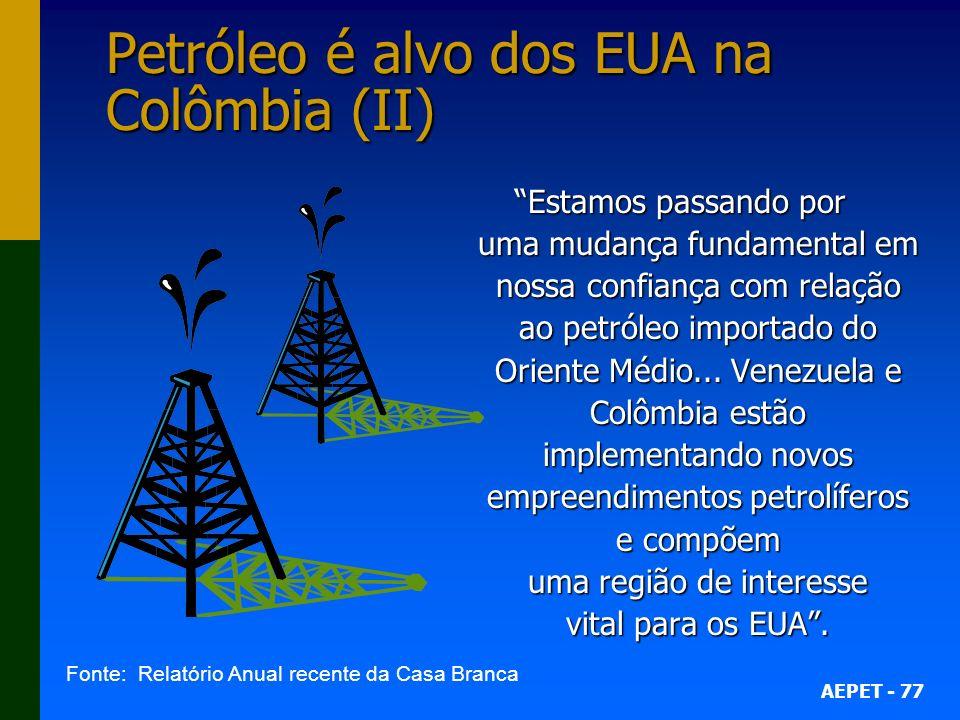 Petróleo é alvo dos EUA na Colômbia (II)
