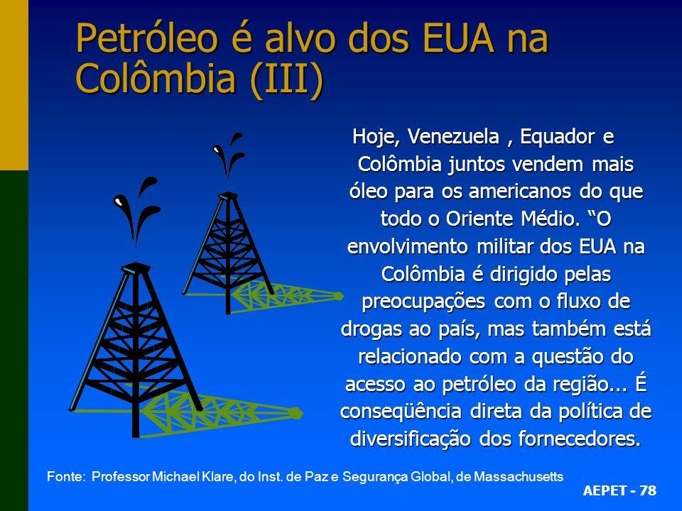 Petróleo é alvo dos EUA na Colômbia (III)