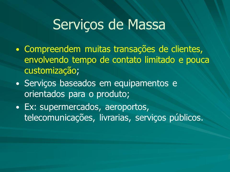 Serviços de Massa Compreendem muitas transações de clientes, envolvendo tempo de contato limitado e pouca customização;
