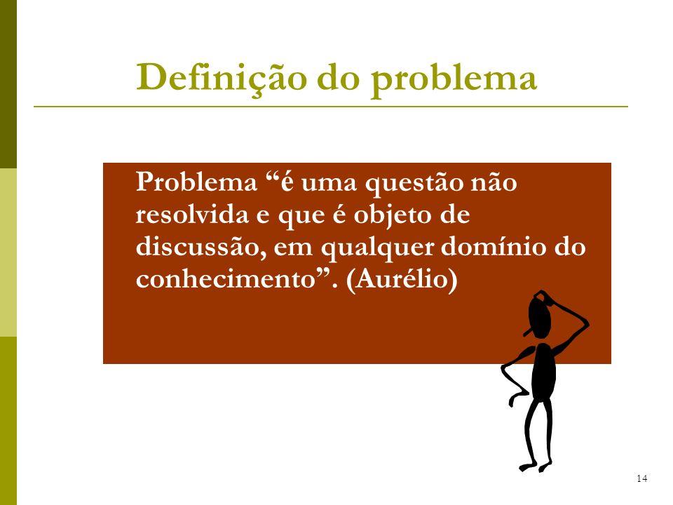 Definição do problema Problema é uma questão não resolvida e que é objeto de discussão, em qualquer domínio do conhecimento .