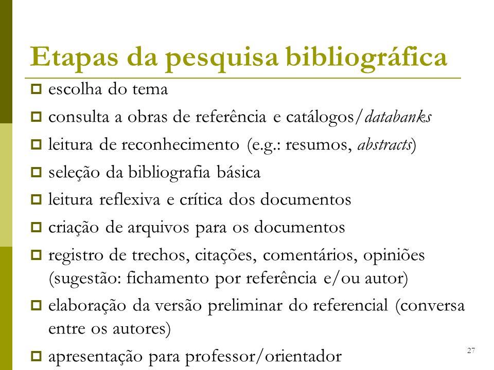 Etapas da pesquisa bibliográfica