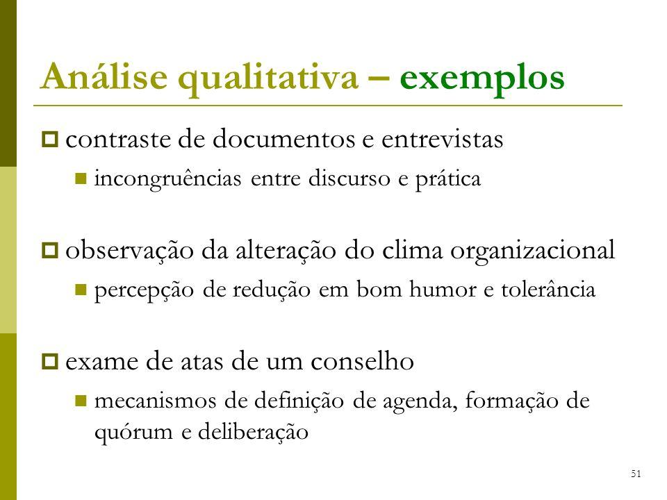 Análise qualitativa – exemplos