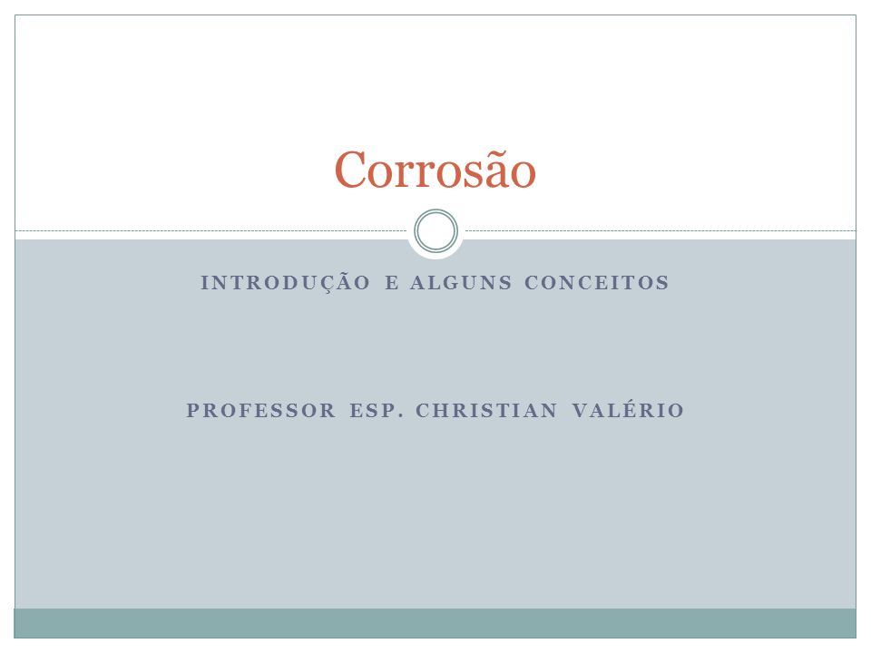 INTRODUÇÃO E ALGUNS CONCEITOS PROFESSOR ESP. CHRISTIAN VALÉRIO