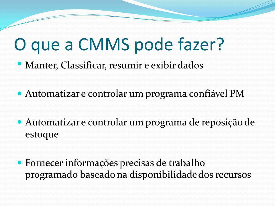 O que a CMMS pode fazer Manter, Classificar, resumir e exibir dados