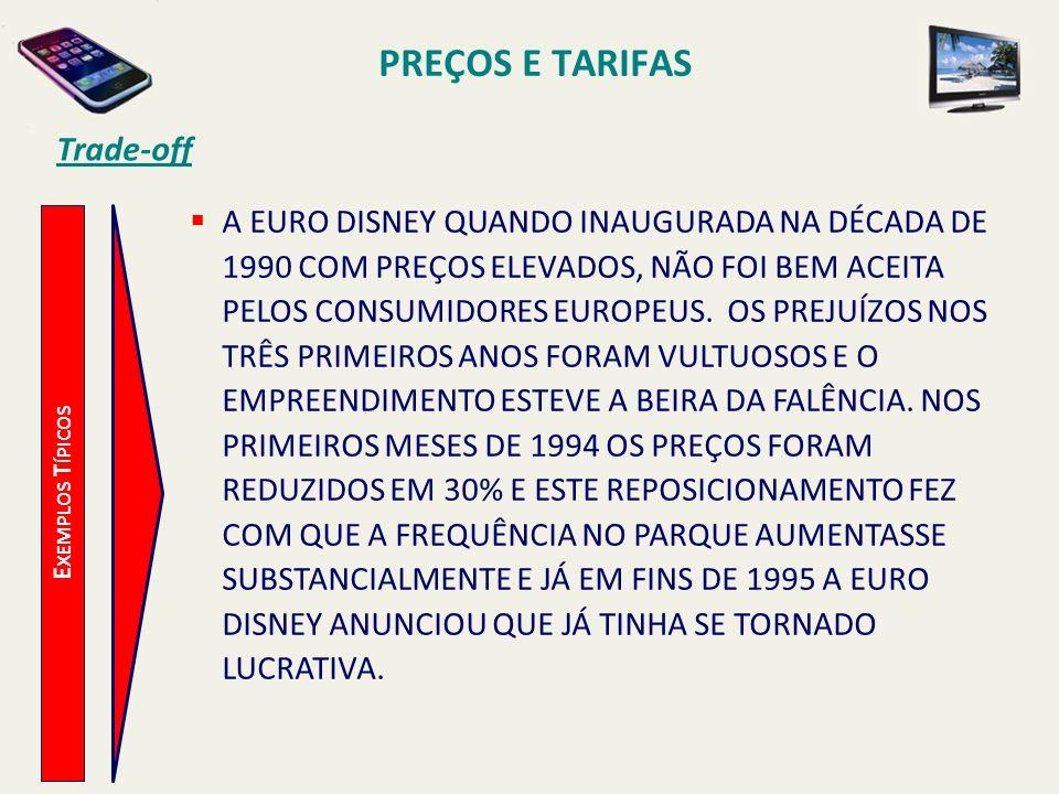 PREÇOS E TARIFAS Trade-off