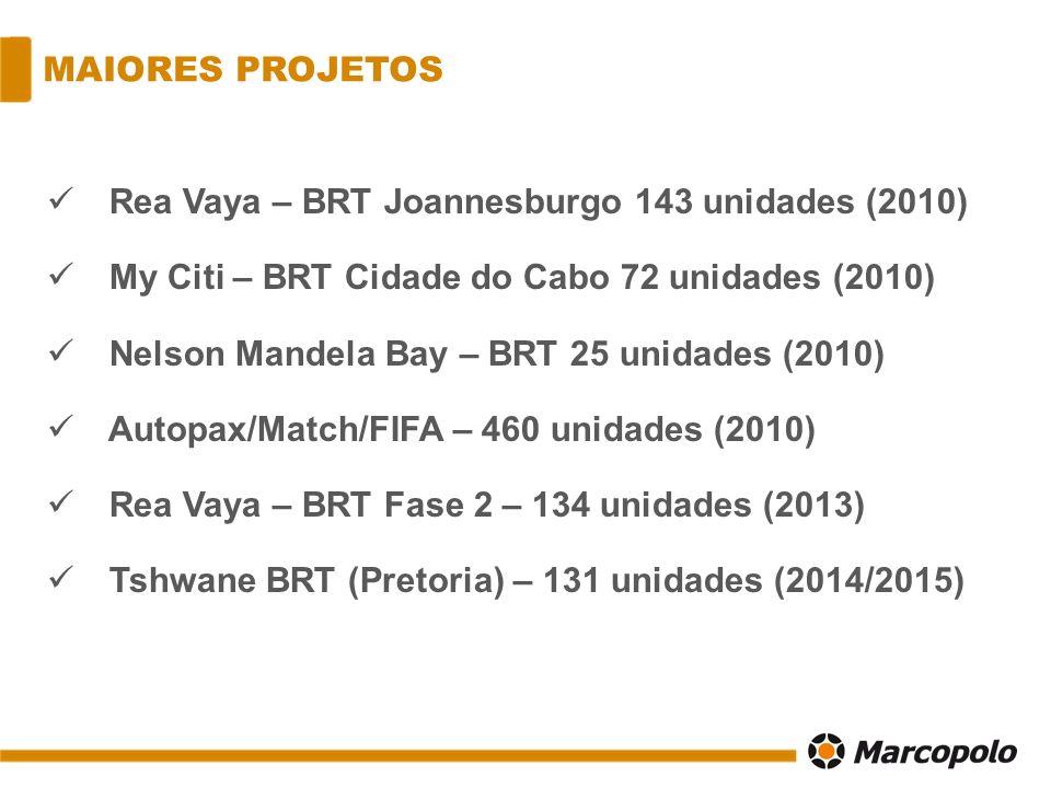 MAIORES PROJETOS Rea Vaya – BRT Joannesburgo 143 unidades (2010) My Citi – BRT Cidade do Cabo 72 unidades (2010)