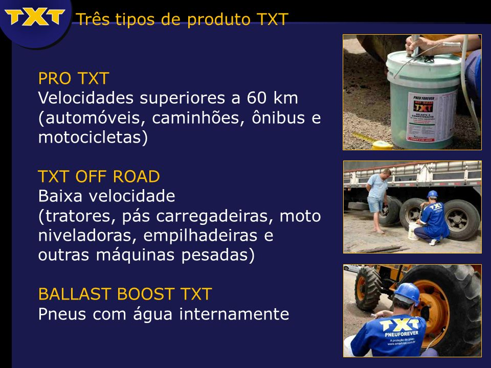 Três tipos de produto TXT