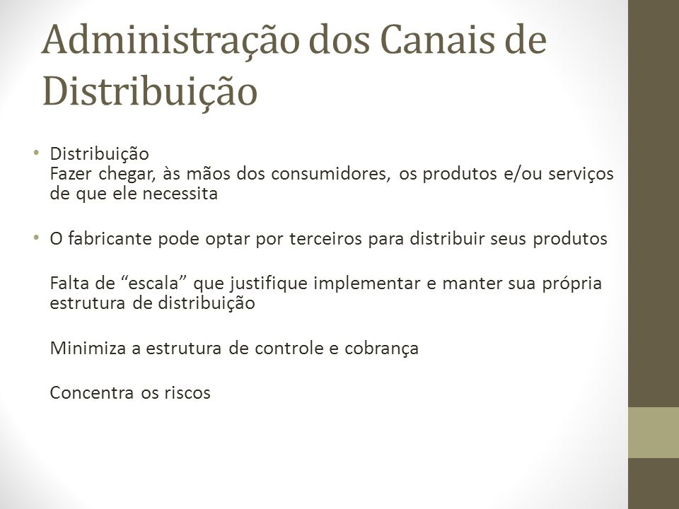Administração dos Canais de Distribuição