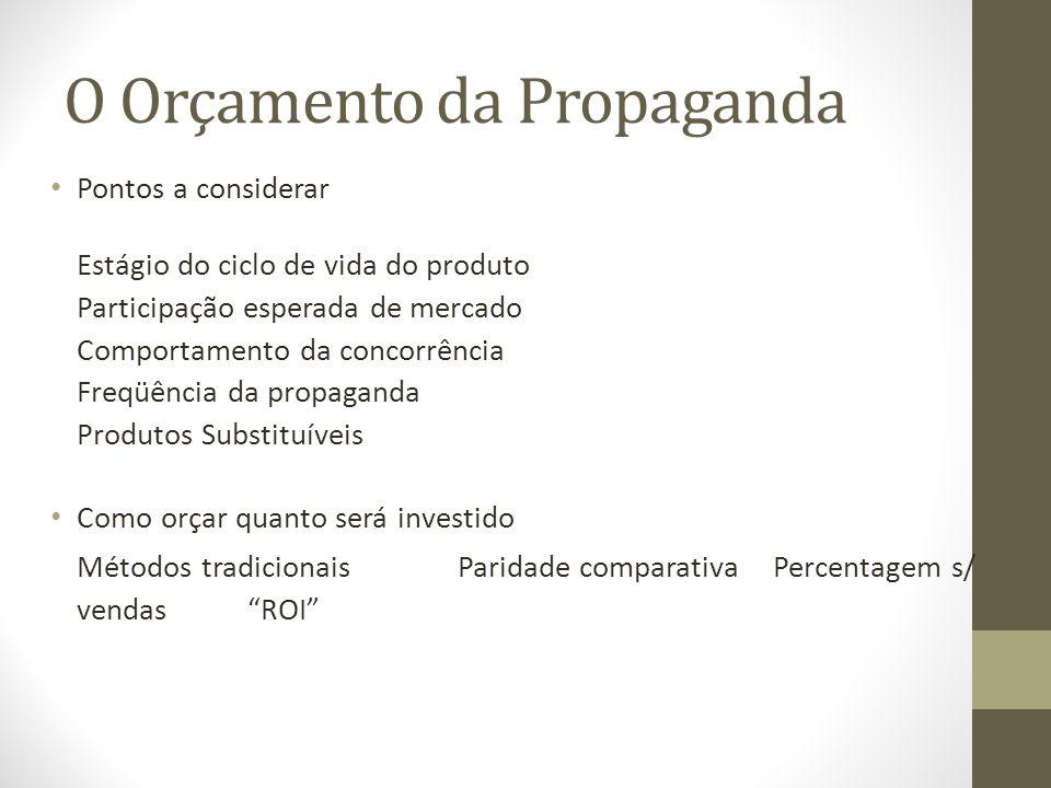 O Orçamento da Propaganda