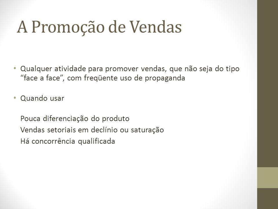 A Promoção de Vendas Qualquer atividade para promover vendas, que não seja do tipo face a face , com freqüente uso de propaganda.