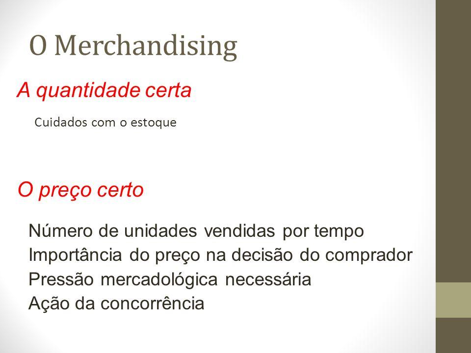 O Merchandising A quantidade certa O preço certo