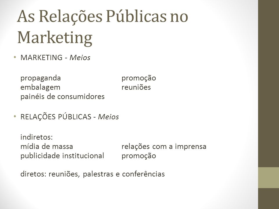 As Relações Públicas no Marketing