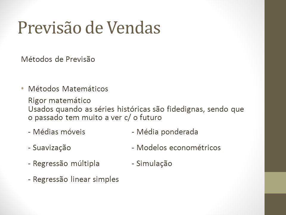 Previsão de Vendas Métodos de Previsão Métodos Matemáticos