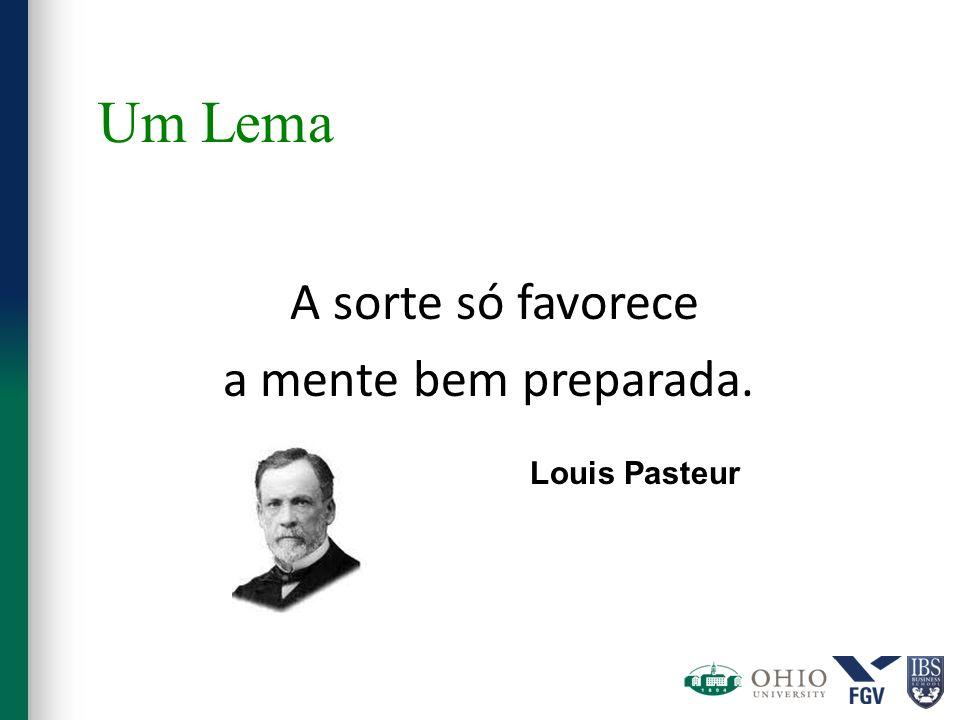Um Lema A sorte só favorece a mente bem preparada. Louis Pasteur